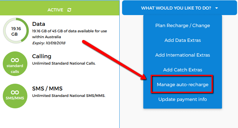 Manage auto recharge with CatchConnect